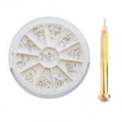 55Pcs/Box 3mm Nail Dangle Silver Beaded Ring Stud And Dotting Tool Set For Acrylic UV Gel Nail Art 12748