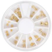 BMC 26pc Gold Colour Ocean Sea Life 3D Nail Art Studs - Shells Starfish Seahorse