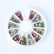Leopard Pattern Colour Metal Studs Nail Jewellery Slicer Round Square Metal Studs 3D Nail Art Decoration DIY