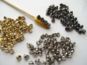 Nail Art 3d 150 Mix Cone Spike Studs Flat Back(50 Silver+50 Gold+50 Gunmetal) 6mm*5mm for Nails, Cell Phones
