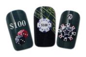 Casino Design Nail Art Wrap Water Transfer Decals for Natural/False Nails