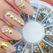 Vinjeely Punk Rivet Nail Art Decoration Stickers Metallic Gold Studs Nail Tips DIY