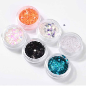 Vinjeely 6 Colour Star Sequins Dazzling Sticker Colourful Nail Art Decoration