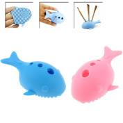2Pcs Cleaning Makeup Brush Holder, Whale / Fish Shape Cleaner Silicone Washing Brush Scrubber Board Cosmetic Clean Tools, Makeup Brushes Organiser,Sky Blue & Pink Colour by DAXUN