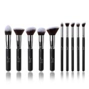 Jessup 10pcs Black/Silver Professional Liquid Kabuki Brush Foundation Blush Makeup Brushes Set Beauty Cosmetics Make Up Tools
