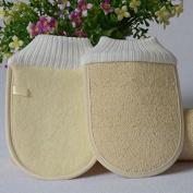 2Pcs Double Side Loofah Scrubbing Shower Gloves Bath Gloves, Deep Exfoliating Natural Bath Sponge Pouffe by DAXUN