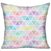 Triangles Pattern Pastel Colours Square Stuffed 18 X 18 Accent Pillow