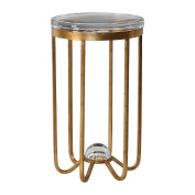 Modern Gold Glass Cage Pedestal Table | Metal Accent Drum Thick