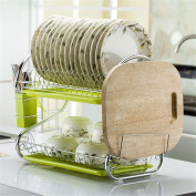 Ahui Dish Plates Cups Drainers 2 Tier Chromed Mug Holder Cutlery Drainer Rack Holder Shelf Storage Cooking and Dining , B