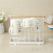 Ahui Dish Plates Cups Drainers 1 Tier Wood Mug Holder Cutlery Drainer Rack Holder Shelf Storage