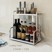 Ahui Kitchen Spice Jar Condiments Canned Food Cutlery Racks Shelf Storage 2 Tier 304 Stainless Steel Cooking & Dining , 2