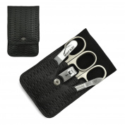 Giesen & Forsthoff's Timor 5-piece Manicure Set with crystal nail file, in Black Leather Case with Braided Look | Premium Manicure Set