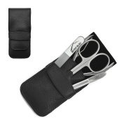 Giesen & Forsthoff's Timor 4-piece Gents' Manicure Set with crystal nail file & nail pliers, in Black Leather Case | Deluxe Manicure Set