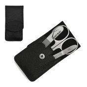 Giesen & Forsthoff's Timor 3-piece Manicure Set with crystal nail file, in Black Leather Case | Deluxe Manicure Set