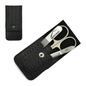 Giesen & Forsthoff's Timor 3-piece Manicure Set with crystal nail file, in Black Leather Case with Braided Look   Premium Manicure Set