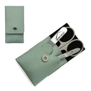 Giesen & Forsthoff's Timor 3-piece Manicure Set with crystal nail file, in Mint Green Leather Case | Premium Manicure Set