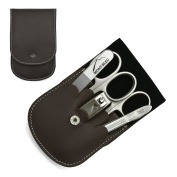 Giesen & Forsthoff's Timor 5-piece Manicure Set with crystal nail file, in Brown Leather Case | Deluxe Manicure Set