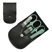 Giesen & Forsthoff's Timor 5-piece Manicure Set with crystal nail file, in Black Leather Case | Deluxe Manicure Set