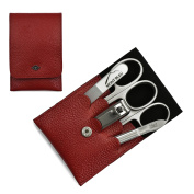 Giesen & Forsthoff's Timor 5-piece Manicure Set with crystal nail file, in Red Leather Case | Premium Manicure Set