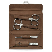 Giesen & Forsthoff's Timor 4-piece Manicure Set with crystal nail file, in Natural Oiled Leather Case with Vintage look | Premium Manicure Set