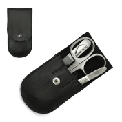 Giesen & Forsthoff's Timor 3-piece Manicure Set with crystal nail file, in Black Leather Case   Premium Manicure Set