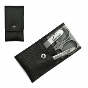 Giesen & Forsthoff's Timor 3-piece Manicure Set with crystal nail file, in Black Soft & Grained Leather Case | Premium Manicure Set