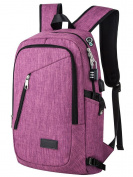 Yorepek College Backpack, Laptop Bag with Headphone Port and USB Charger Ports, Slim Anti Theft Travel Bag for School Students, Fits up to 43cm Laptop / Computer, Purple
