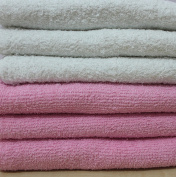 DUDU N GIRLIE Baby Terry Towelling 100% Cotton Nappies, White & Pink, 6 Piece