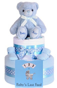 2 Tier Boys Nappy Cake, Baby Shower Gift, Blue Baby Hamper - FREE & FAST DELIVERY!