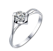 Cdet Women Ring Size Adjustable Angel Heart Crystal White Diamond Lady Ring Jewellery Accessories Birthday Gift Silver