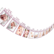 Culater® New Baby Kids 1st Birthday Gift 1-12 Months Photo Banner DIY Wall Hanging Picture Album Pink