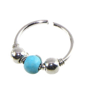 SetMei 1xStainless Steel Nose Ring Turquoise Nostril Hoop Nose Earring Piercing Jewellery (A