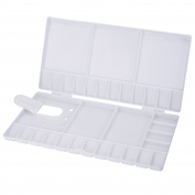 Shappy Watercolour Palette Folding Paint Tray Plastic Painting Pallet with 33 Compartments, Thumbhole and Brush Holders, White