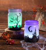 Indoor Small Colour Changing Lighted Jar Halloween Decoration Polyresin Battery Operated 3.25 dia. x 4.5 H