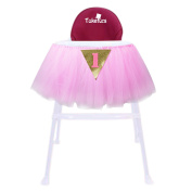 Tulle Table Skirt, Takefuns 1st Birthday Pink Gold Tutu for High Chair Decoration Tulle Table Skirt Glitter Chair Skirt for Baby Shower Decoration Party Supplies