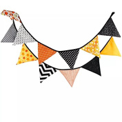 Timemorry Vintage Cotton Triangle Banner-Coloured Hanging Garland-Decoration Flags for Festivals, Wedding, Birthday, Baby Shower, Outdoor