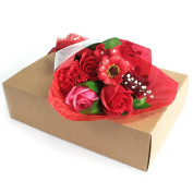 Boxed Hand Soap Flowers Bouquet Red 25x13x6cm