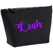 Leah Personalised Name Cotton Canvas Black Make Up Accessory Bag Wash Bag Size 14x20cm. The perfect personalised Gift for All occasion, Christmas, Birthdays,