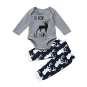 Exteren Newborn Infant Baby Letter Deer Print Romper Tops+Pants Outfits Clothes Set