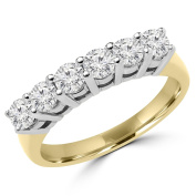 1 CTW Diamond Semi Eternity Anniversary Band Ring in 14K Yellow Gold
