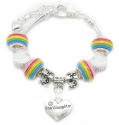 Granddaughter Children's Silver Plated Rainbow Charm Bracelet Presented In High Quality Gift Pouch