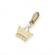 9ct Gold & Clear CZ Crystal Royal Crown Charm
