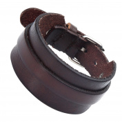 Stunning Adjustable Dark Brown Cuff Leather Bracelet for Men
