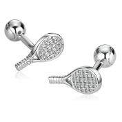 Anazoz Stainless Steel Personality Mens Tennis Racquet And Ball Silver Cuff Links