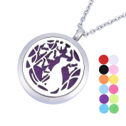 VALYRIA Hollow Vines Flowers Cat Aromatherapy Essential Oil Diffuser Pendant Necklace Pendant Locket With 12 Felt Pads