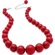 Dark red colour graduated bead choker necklace