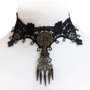 JewelryWe Halloween Decorations Costume Jewellery Womens Collar Necklace Black Braided Fabric Lace Choker Necklace Punk Rock Clavicle Neckwear Length