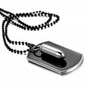 Mens High Polished Bullet Dog Tag Pendant Necklace,60cm Chain Icluded
