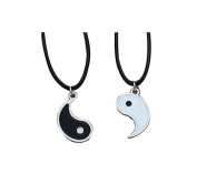 Vintage Best Friend Black White Enamel Tai Chi Yin Yang Pendant Women Men PU Leather Necklace Friendship Jewellery
