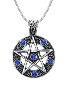 Vnox Stainless Steel Blue Crystal Pentagram of Family Star Pendant Necklace for Men Women Wiccan Jewellery